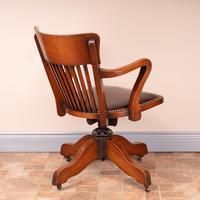 Good Quality Oak Revolving Office Desk Chair (9 of 14)