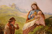 """Oil Painting by Alfred Henry Green """"The Midday Break"""" (3 of 5)"""