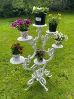 Victorian 19th Century Garden Cast Iron Painted White 6 Branch Plant Stand (3 of 47)