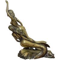 Art Deco French Signed Gilt Bronze 2 Female Nude Mermaids Swimming Statue c.1930