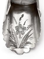 Victorian Silver Shovel Shaped Tea Caddy Spoon with a Beautifully Engraved Floral Scene (6 of 7)