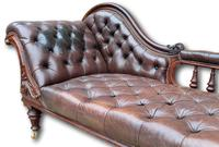 Victorian Mahogany Chaise Lounge with Button Leather Upholstery (7 of 7)