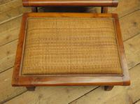 Vintage British Colonial Style Teak & Cane Plantation Chair & Footstool (9 of 17)