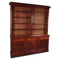 Large Early Victorian Mahogany Open Bookcase