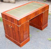1960s Yew Wood Pedestal Desk with Green Leather Top- Military Style (5 of 5)