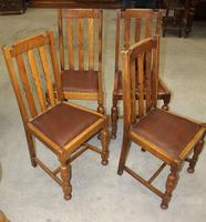1930's Set of 4 Oak Dining Chairs with Brown Leather Pop out Seats (2 of 2)
