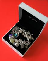 A Vintage 1963 Heavy Silver Charm Bracelet With 38 Silver Charms - Ideal Birthday Present  / Boxed