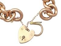 9ct Yellow Gold Bracelet with Heart Padlock Clasp - Antique c.1900 (3 of 9)