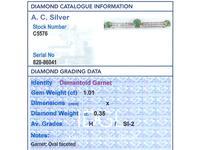 1.01ct Demantoid Garnet & 0.35ct Diamond, 14ct Rose Gold Bar Brooch - Antique c.1900 (8 of 9)