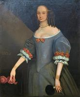 Huge Period Antique 3/4 Length Oil Portrait Painting of 17th Century Lady (3 of 13)