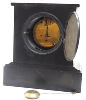 Antique French Slate & Marble 8 Day Mantel Clock J W Benson (6 of 8)
