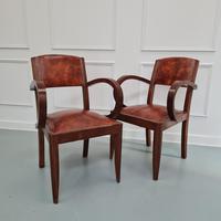 Pair of Leather Bridge Desk Chairs c.1930