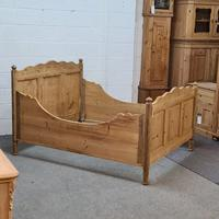 Large Old Pine Sleigh Bed (3 of 5)