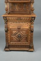 Carved Oak Leaded Glass Bookcase Cabinet (8 of 8)