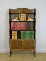 Antique Mahogany Waterfall Bookcase Cabinet (8 of 9)