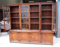 1920s Large 4 Door Oak Bookcase (4 of 4)