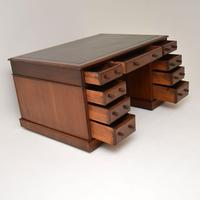 Antique  Victorian Mahogany Leather Top Partners Desk (11 of 12)