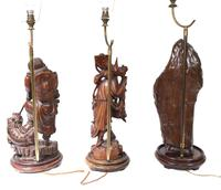 Set Hand Carved Chinese Buddha Lamps Antique Lights Figurines 1880 (15 of 16)