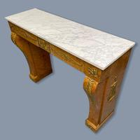French Burr Walnut & Marble Top Console Table (3 of 14)
