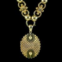 Antique Victorian Locket Collar Necklace Sterling Silver 18ct Gold Gilt Dated 1881 (11 of 11)