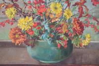 Large Mid Century Oil Painting Still Life of Chrysanthemums (3 of 10)