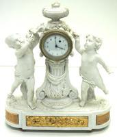 French Empire Figural Mantel Clock – Bisque Porcelain Cherub Verge Mantle Clock c.1800 (2 of 13)