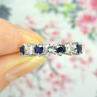 Vintage 18ct white gold Sapphire & Diamond seven stone ring (7 of 10)
