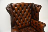 Antique Leather  Wingback Armchair (5 of 9)