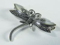 Vintage Silver Marcasite & Mother of Pearl Dragonfly Brooch