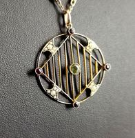 Antique Edwardian 9ct Gold Pendant, Peridot, Garnet and Pearl (4 of 10)