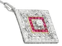 3.48ct Diamond & 0.53ct Ruby, Platinum Pendant / Brooch - Antique c.1900 (3 of 15)