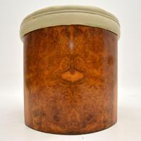 Art Deco Burr Walnut & Leather Stool (8 of 8)