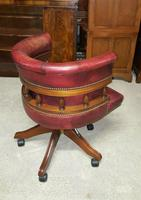 Antique Design Mahogany Red Leather Captains Chair (5 of 5)