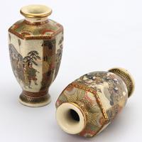 Pair of Small Meiji Period Japanese Satsuma Vases Signed Hododa c1890 (3 of 10)