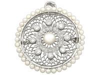 1.38 ct Diamond and Seed Pearl, Platinum Pendant / Brooch - Antique Italian Circa 1900 (4 of 12)