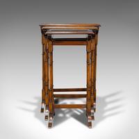 Antique Trio of Nest Tables, English, Walnut, Mahogany, Nesting, Side, Edwardian (3 of 12)