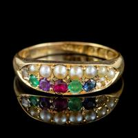 Antique Victorian Dearest Gemstone Ring 18ct Gold Dated 1889 (7 of 7)