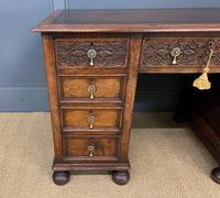 Good Carved Oak Pedestal Desk (5 of 18)