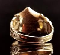 Antique Mourning Ring, 18ct Gold, Enamel, Pearl & Garnet - William IV (4 of 13)