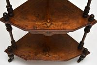 Antique Victorian Walnut Inlaid Corner Whatnot (7 of 15)