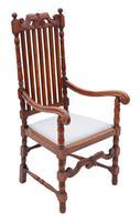 Oak Armchair Elbow Desk Chair C1915 Charles II Style (5 of 8)