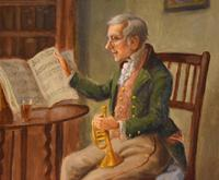 """Oil Painting by Alexander Austen """"The Trumpet Player"""" (3 of 5)"""