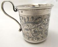 Imperial Russian Silver & Niello Tot Cup with Scroll Handle 84k Moscow 1850 (3 of 7)