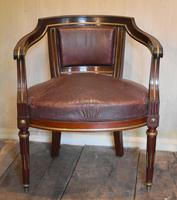 French Mahogany, Brass & Leather, Low Back Armchair