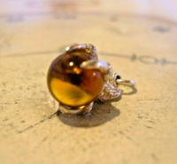 Vintage Silver Pocket Watch Chain Fob 1970s Dainty Talon or Claw Holding an Amber Ball (8 of 9)