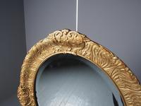 Victorian Pair of Carved Gesso & Gilded Oval Wall Mirrors (4 of 8)