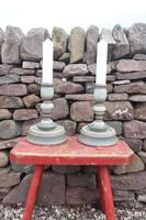 Pair of Swedish 'Folk Art' Large Over-sized Wooden Painted Candlesticks 20th Century (6 of 17)