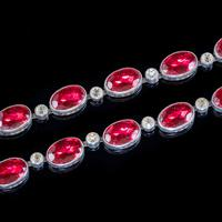 Art Deco Red Paste Riviere Necklace Silver c.1920 (4 of 8)