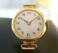 9ct Gold Ladies Wrist Watch 1934 Swiss 15 Jewel Porcelain Dial Red 12 FWO (7 of 12)