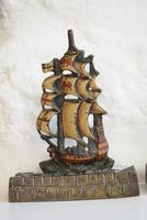 Pair of Painted Bronze Sailing Ship Doorstops or Bookends (8 of 10)